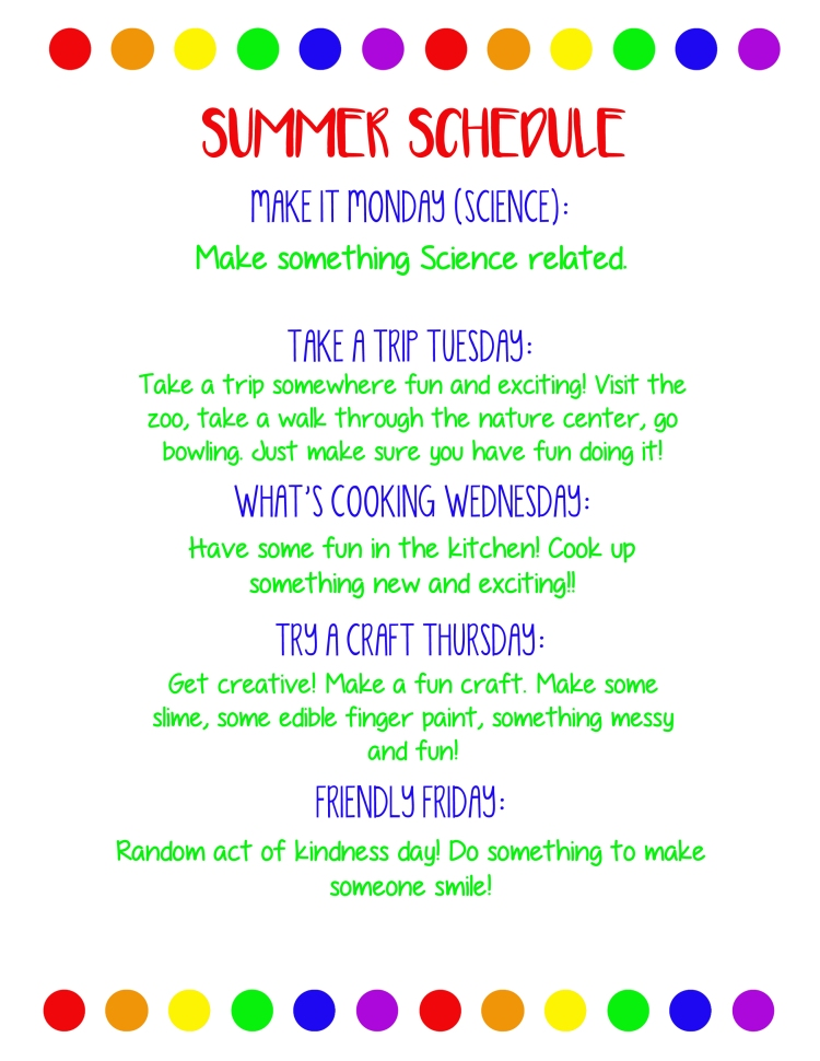 summer schedule - weekly